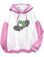 Frog Skateboard Hoodie Long Sleeve Drawstring Cute Kawaii Pullover Sweatshirt Plus Velvet Funny Sweatshirts for Teen Girls