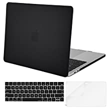 Mosiso Plastic Hard Case with Keyboard Cover with Screen Protector for Newest MacBook Pro 15 Inch (A1707 with Touch Bar, 2017 & 2016 Release),Black