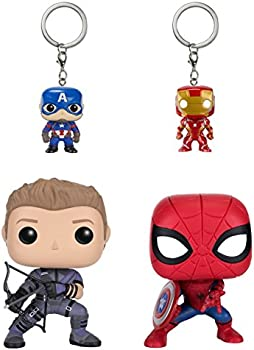 4-Pack Captain America Civil War Vinyl Figure and Keychain Set
