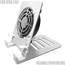 Desk USB Fan Air Circulator Fan USB Table Desk Portable Fan,Small Personal USB Fan Smartphones Stand Holder Cell Phone Stand Holder Cooling Cooler Fan Cooling Pad Radiator Foldable Stand Holder(White)