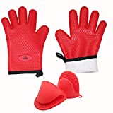 Univaris Oven Mitts BBQ Gloves and Mini Mitts Potholders Pair - Quilted Inner Cotton Lining and Silicone Heat Resistant and Waterproof | Premium Quality and Versatile Use|-Cooking, Pizza, Microwave, Baking, BBQ Instant Pot and Grilling Gloves, Mitts and Potholder( 4 Piece)