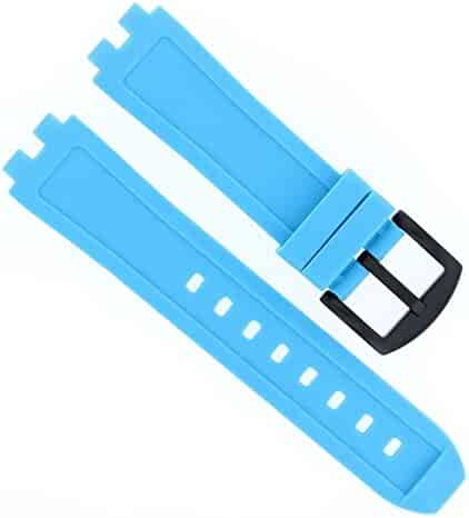 3d55954fa70 Light Blue Replacement Silicone Rubber Diver Watch Strap Band for Pebble  Steel