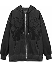 Y2k Fashion Clothes Sweatjacket Women hooded Gothic Punk Hoodie Zip Pullover Aesthetic Top Vintage Harajuku Streetwear A-6