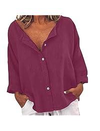 WOCACHI Long Sleeve Tshirt for Womens, Pocket Button Down Neck Tunic Tops Shirt