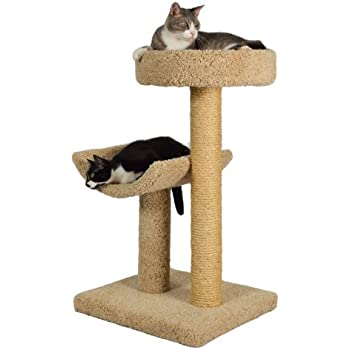 """Molly and Friends """"Simple Sleeper"""" Premium Handmade 2-Tier Cat Tree with Sisal, Model 23, Beige, Colors May Vary"""
