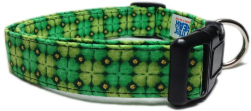 Adjustable Dog Collar in Shamrocks Clovers with Gold Glitter (U.S.A. Made)