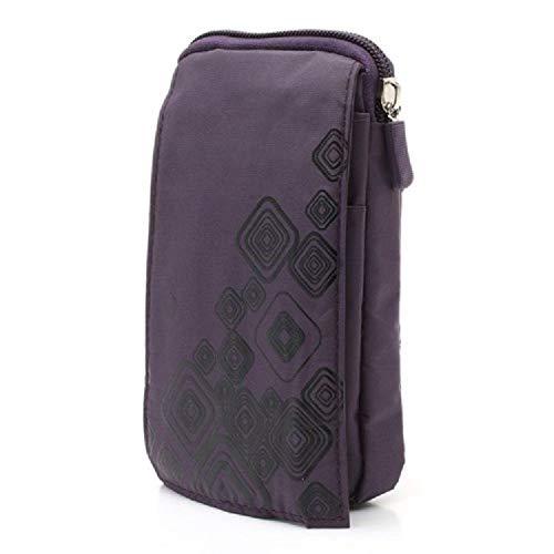 S12 Cases Bags - DFV mobile - Multi-Functional Vertical Stripes Pouch Bag Case Zipper Closing Carabiner for => KOOBEE S12 (2018) > Purple (16 x 9.5 cm)