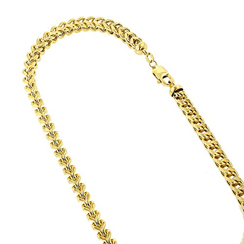 IcedTime 14k Yellow Gold Hollow Franco Chain 5.5mm Wide Necklace with Lobster Clasp 24 inches (18k Gold Franco Chain)