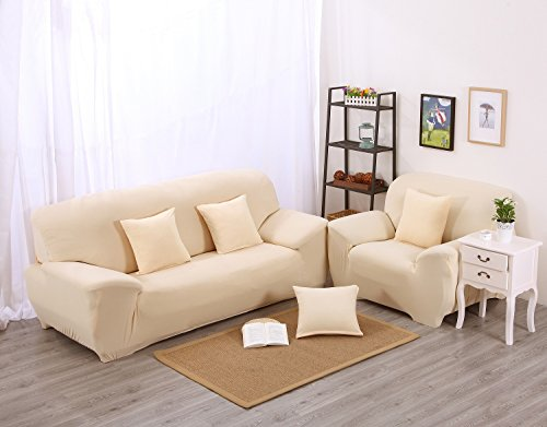 Beige Sectional Couch (Beige High Elasticity Fabric Sofa Slipcover Couch Cover Protector Three-Seater 74-90 Inch)