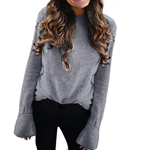 ANJUNIE Women Solid Sweater Pullover Long Flare Sleeve Tops Knitwear Loose Knitted Tops(Gray,L)