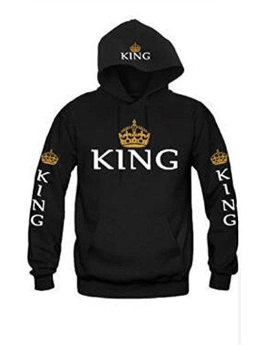JIANLANPTT Men Women Fashion King Queen Hoodies Sweatshirt Love Couple Black S(US0-2) by JIANLANPTT