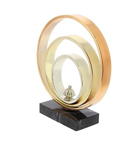 Deco 79 84346 Iron and Marble Three-Ring Sculpture, 10