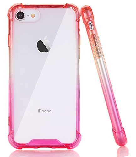 BAISRKE Red Pink Gradient Slim Shock Absorption Protective Cases Soft TPU Bumper & Hard Plastic Back Cover Compatible with iPhone 7 (2016) & iPhone 8 (2017) [4.7 inch]