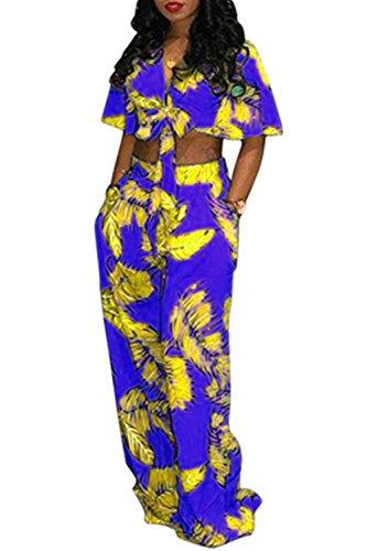 実現可能シャワー温度Dazosue 女性花ジャンプスーツ包帯作物Vネックロングワイドパンツロンパス Purple L