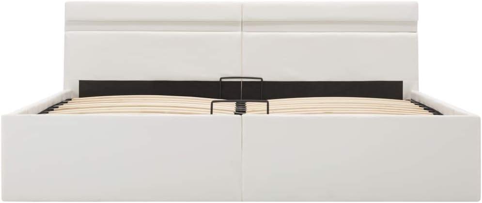 vidaXL Giroletto Idraulico con Contenitore e LED Moderno Salvaspazio Robusto a Doghe Letto Imbottito Struttura Telaio Bianco in Similpelle 160x200cm