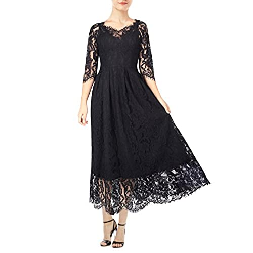 KIMILILY Womens Vintage 3/4 Sleeve Formal Elegant Lace Long Bridesmaid Dress (m, Black)