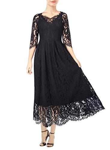 KIMILILY Women's Vintage 3/4 Sleeve Formal Elegant Lace Long Bridesmaid Dress (XL, Black)