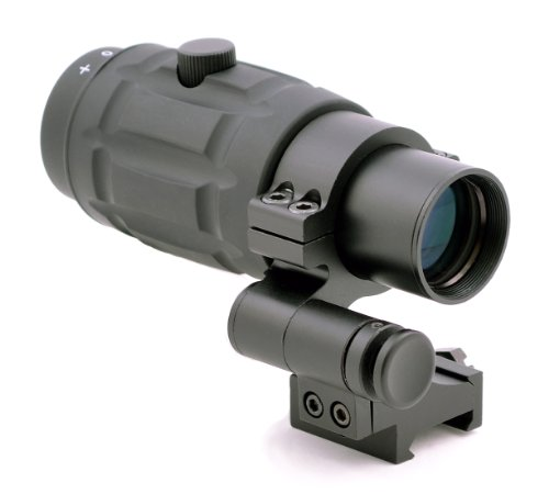 TMS Tactical 3x Magnifier Scope with Quick Flip to Side FTS Mount 42mm Center Height for Red Dot Sights and AIMPOINT Sights