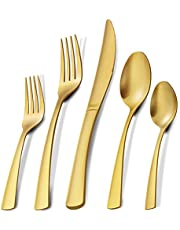 Matte Gold Silverware Set, APEO 20 Piece Flatware Set, Stainless Steel Cutlery Set, Service for 4, Square Handle, Tableware Set include Knife Fork Spoon, Dishwasher Safe