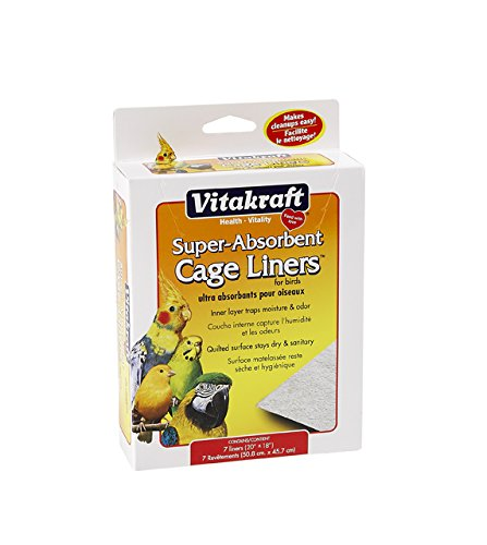 VITAKRAFT 512071 7-Pack Super Absorbent Cage Liners for Birds, 20