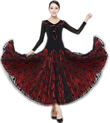 garuda 社交ダンス ドレスダンス衣装 赤色トッド柄豪華競技レディースワンピース サイズオーダー可  サイズS