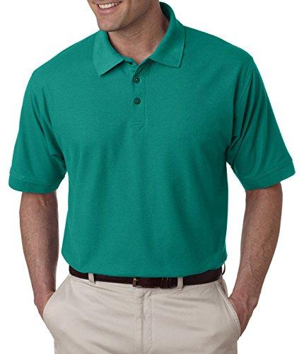 Jade Pique Polo Shirt - UltraClub Men's Whisper Fit Pique Polo Shirt, Jade, Medium