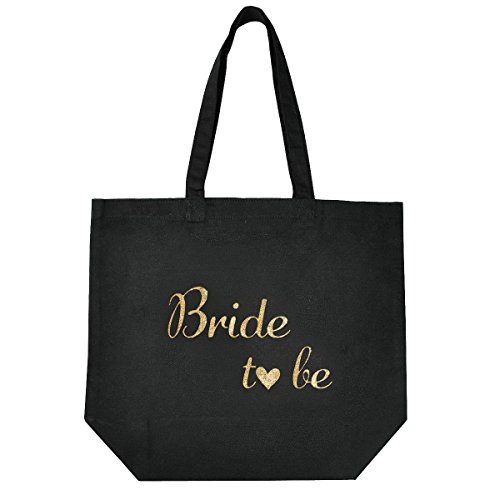ElegantPark Bride to Be Tote Bag for Wedding Bridal Gifts Black 100% Cotton with Gold Script (Tote Wedding)