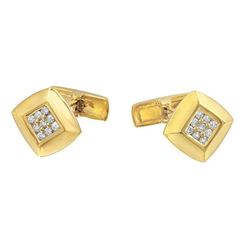 (18K Yellow Gold Round Cuff Links (0.48 ctw, K Color, I2 Clarity))