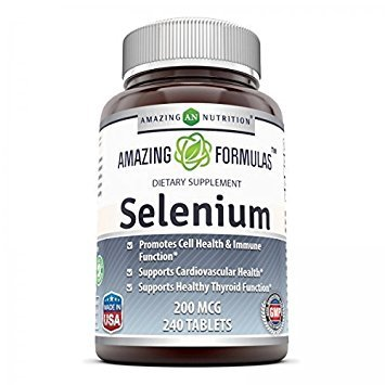 Amazing Nutrition Selenium * 200mcg Natural Selenium Yeast * 240 Tablets Per Bottle  * Promotes Cell Health, Immune Function, Cardiovascular Health and Healthy Thyroid Function and more..