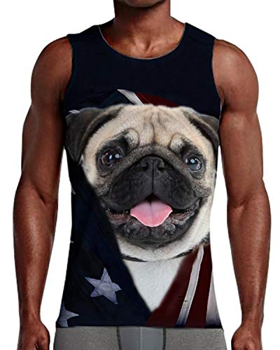 - NEWISTAR 3D Print Funny Pug Dog Gym Tank Tops for Men XXL
