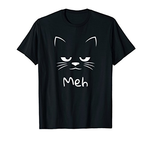 Sarcastic and Funny Meh Halloween Cat T-Shirt