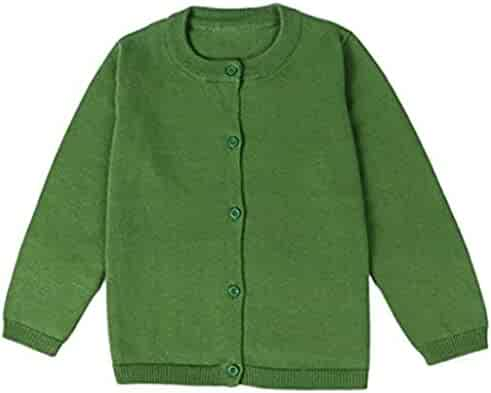 JELEUON Little Girls Cute Crew Neck Button-Down Solid Fine Knit Cardigan  Sweaters f1cba341f