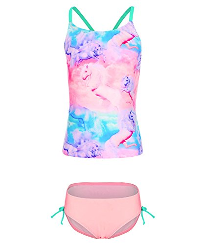 BELLOO Girls Tankini 2 Piece Bathing Suits with Clouds, Pink, 10-12