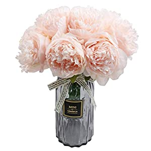 famibay Artificial Peony Bouquets Flower Head Vantage Fake Peony Silk Plastic Plants with Stem for Home Decoration Wedding Party Garden Bar Festival Holiday 10 PCS Pink 1