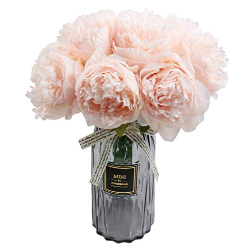 famibay Artificial Peony Bouquets Flower Head Vantage Fake Peony Silk Plastic Plants with Stem for Home Decoration Wedding Party Garden Bar Festival Holiday 10 PCS Pink ()