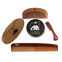 GBS Combo Set (4 Pc Kit) Premium Oval Wood Beard Brush with Boar Bristles, Bamboo All Fine Beard Comb, Tortoise Pocket Beard and Moustache Comb & Tortoise Dressing Comb by GBS