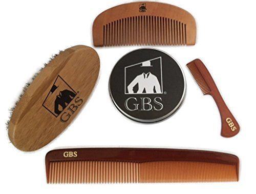 GBS Beard Brush Grooming Set – Premium Oval Beard Boar Bristle Brush, Bamboo All Fine Beard Comb, Tortoise Pocket Mustache Comb & Tortoise All Purpose Dressing Comb Pair with your Best Razor
