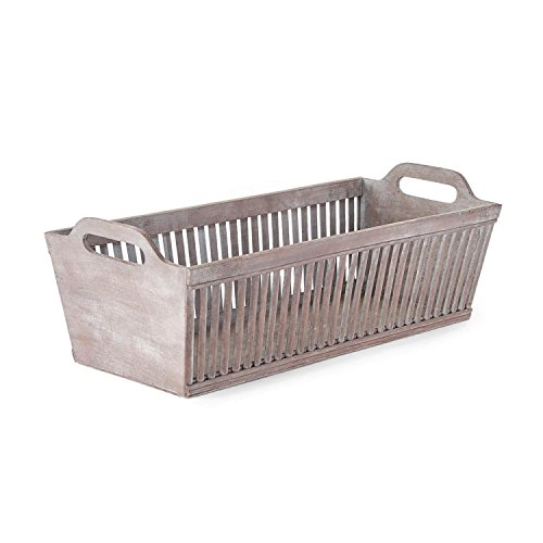 "26.5"" Bassinet Style Rectangular Gray Distressed Bamboo Decorative Baskets with Handles by CC Home Furnishings"