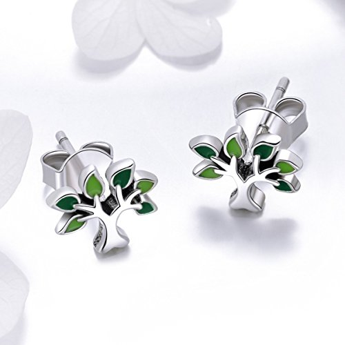 BISAER Tree of Life 925 Sterling Silver Stud Earrings with Green Enamel Leaves, Cute Post Stud Earring Hypoallergenic Jewelry for Women. by BISAER (Image #2)'