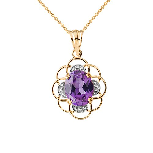 Precious 14k Yellow Gold Flower of Life with Genuine Amethyst Center Stone Charm Pendant Necklace, 16