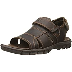 Caterpillar Men's Voyager Fisherman Sandal, Dark Brown, 7 M US
