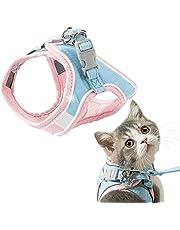 GeeRic Katttallrik, kattsele okrossbar, kattväst med koppel, justerbara rätter för små katter, Escape Proof Cat Harness Set med reflekterande ränder