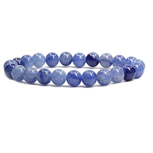 (Amandastone Blue Aventurine Gem Semi Precious Gemstone 8mm Ball Beads Stretch Bracelet 7