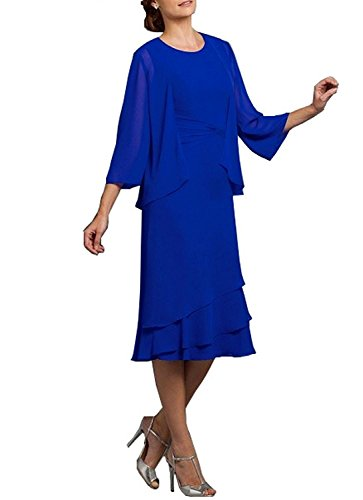 (Neggcy Women's Tea Length Party Dress Chiffon Mother Of The Bride Dress With Jacket Royal Blue US2)