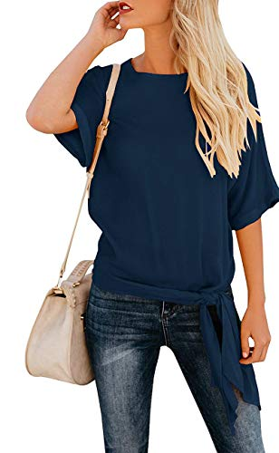 (OURS Women's Casual Knot Tie Front Half Sleeve Summer T Shirt Blouses Tops (Navy Blue, XXL))
