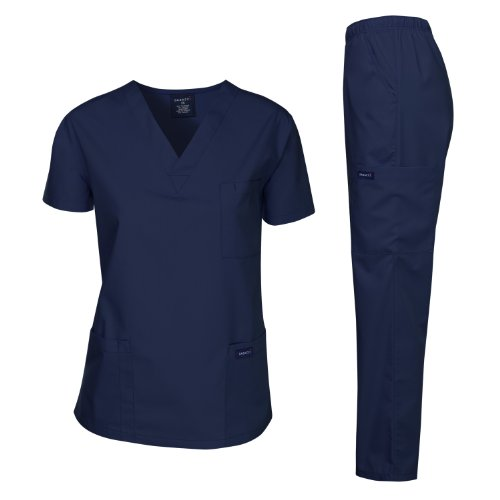 Dagacci Medical Uniform Woman and Man Scrub Set Unisex Medical Scrub Top and Pant, NAVY, L