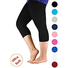 Passionate Adventure Premium Soft Light Comfy Fit Bamboo Capri Pants Under Dress Leggings for Women Regular and Plus Size