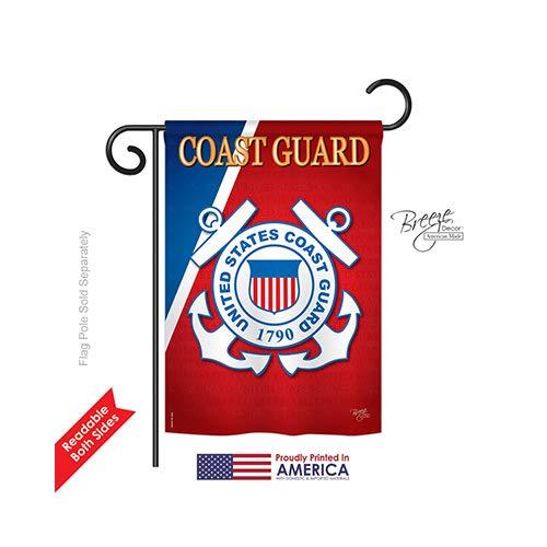 "Breeze Decor G158056 Coast Guard Americana Military Impressions Decorative Vertical Garden Flag 13"" x 18.5"" Printed In USA Multi-Color from Breeze Decor"