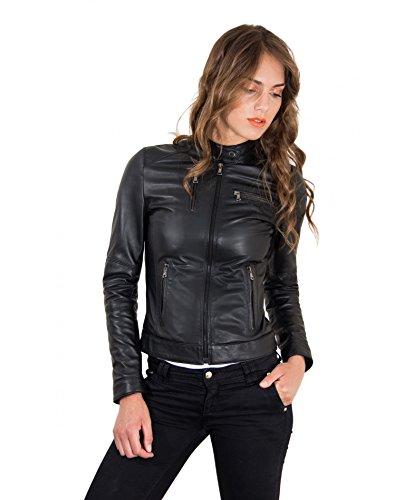 GIULIA D'Arienzo veste cuir en plong couleur noir p87Fnpq