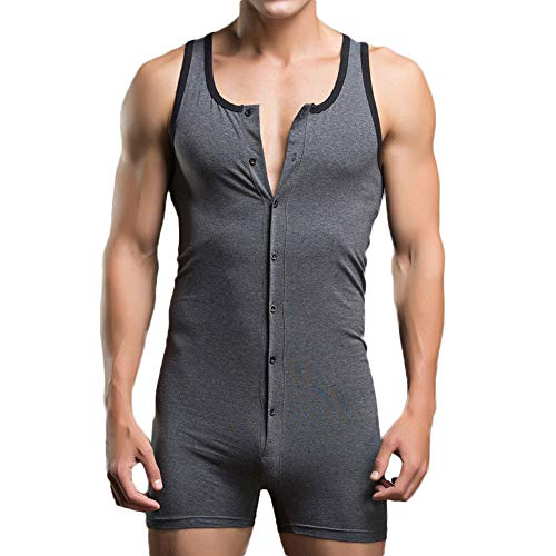 POQOQ Sleepwear Men Undershirt Underwear Sexy Tank Tops Jumpsuits Shorts S Dark Gray